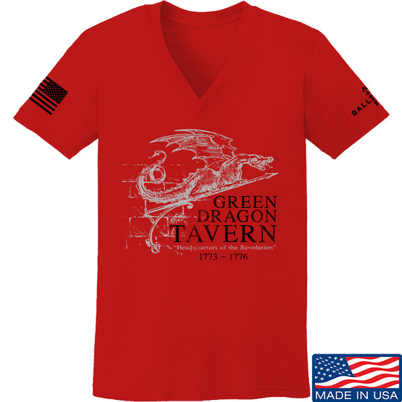 IV8888 Ladies Green Dragon Tavern Signage V-Neck T-Shirts, V-Neck SMALL / Red by Ballistic Ink - Made in America USA