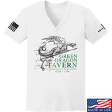 IV8888 Ladies Green Dragon Tavern Signage V-Neck T-Shirts, V-Neck SMALL / White by Ballistic Ink - Made in America USA