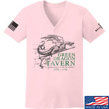 IV8888 Ladies Green Dragon Tavern Signage V-Neck T-Shirts, V-Neck SMALL / Light Pink by Ballistic Ink - Made in America USA