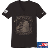 IV8888 Ladies Founding Fathers' City Tavern V-Neck T-Shirts, V-Neck SMALL / Black by Ballistic Ink - Made in America USA