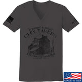 IV8888 Ladies Founding Fathers' City Tavern V-Neck T-Shirts, V-Neck SMALL / Charcoal by Ballistic Ink - Made in America USA