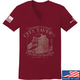 IV8888 Ladies Founding Fathers' City Tavern V-Neck T-Shirts, V-Neck SMALL / Cranberry by Ballistic Ink - Made in America USA