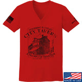 IV8888 Ladies Founding Fathers' City Tavern V-Neck T-Shirts, V-Neck SMALL / Red by Ballistic Ink - Made in America USA