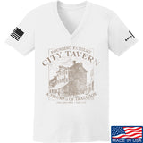 IV8888 Ladies Founding Fathers' City Tavern V-Neck T-Shirts, V-Neck SMALL / White by Ballistic Ink - Made in America USA