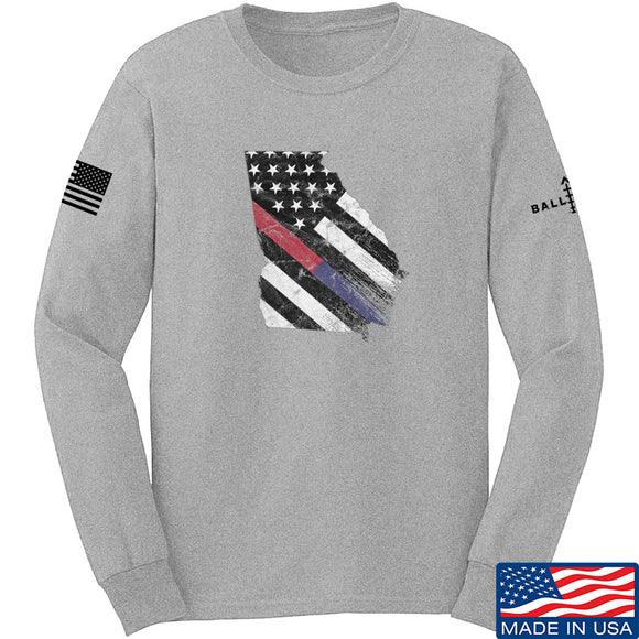 IV8888 Georgia Red and Blue Line Long Sleeve T-Shirt Long Sleeve Small / Light Grey by Ballistic Ink - Made in America USA