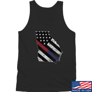 IV8888 Georgia Red and Blue Line Tank Tanks SMALL / White by Ballistic Ink - Made in America USA