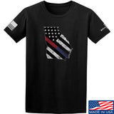 IV8888 Georgia Red and Blue Line T-Shirt T-Shirts Small / Black by Ballistic Ink - Made in America USA