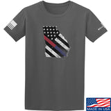 IV8888 Georgia Red and Blue Line T-Shirt T-Shirts Small / Charcoal by Ballistic Ink - Made in America USA