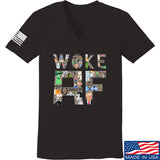 IV8888 Ladies Woke AF V-Neck T-Shirts, V-Neck SMALL / Black by Ballistic Ink - Made in America USA