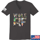 IV8888 Ladies Woke AF V-Neck T-Shirts, V-Neck SMALL / Charcoal by Ballistic Ink - Made in America USA
