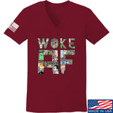 IV8888 Ladies Woke AF V-Neck T-Shirts, V-Neck SMALL / Cranberry by Ballistic Ink - Made in America USA