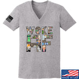 IV8888 Ladies Woke AF V-Neck T-Shirts, V-Neck SMALL / Light Grey by Ballistic Ink - Made in America USA