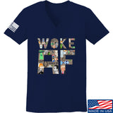 IV8888 Ladies Woke AF V-Neck T-Shirts, V-Neck SMALL / Navy by Ballistic Ink - Made in America USA