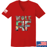 IV8888 Ladies Woke AF V-Neck T-Shirts, V-Neck SMALL / Red by Ballistic Ink - Made in America USA