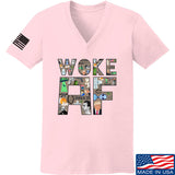 IV8888 Ladies Woke AF V-Neck T-Shirts, V-Neck SMALL / Light Pink by Ballistic Ink - Made in America USA
