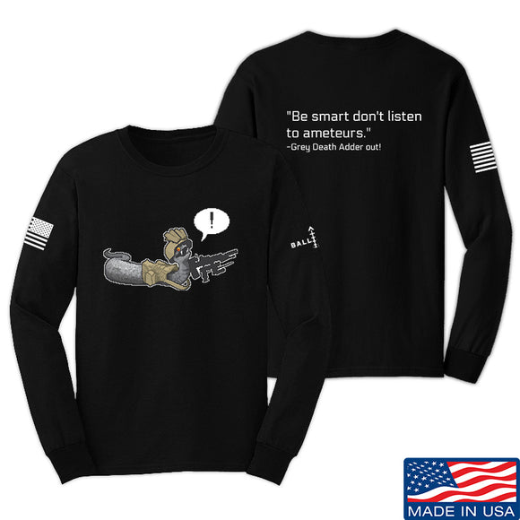 Kit Badger Grey Death Adder - Be Smart Long Sleeve T-Shirt Long Sleeve Small / Black by Ballistic Ink - Made in America USA