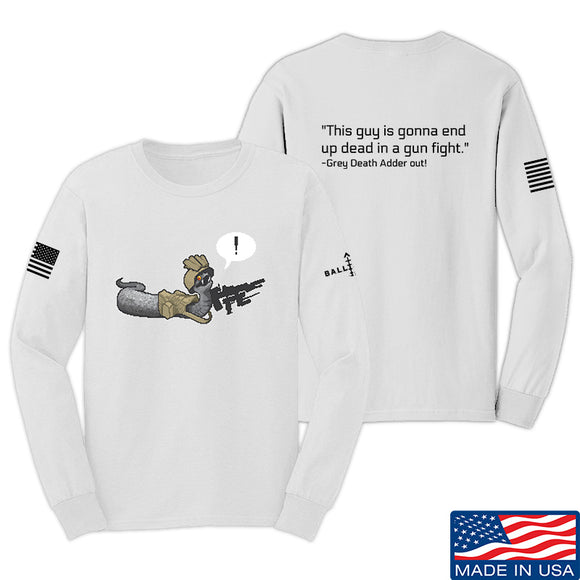 Kit Badger Grey Death Adder - Dead in a Gun Fight Long Sleeve T-Shirt Long Sleeve Small / White by Ballistic Ink - Made in America USA
