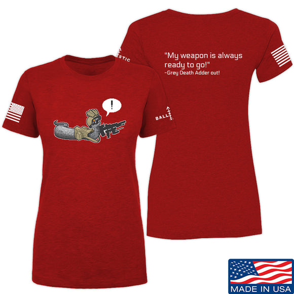 Kit Badger Ladies Grey Death Adder - Ready to go! T-Shirt T-Shirts SMALL / Red by Ballistic Ink - Made in America USA