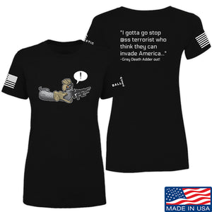 Kit Badger Ladies Grey Death Adder - Stop Ass Terrorist T-Shirt T-Shirts SMALL / Navy by Ballistic Ink - Made in America USA