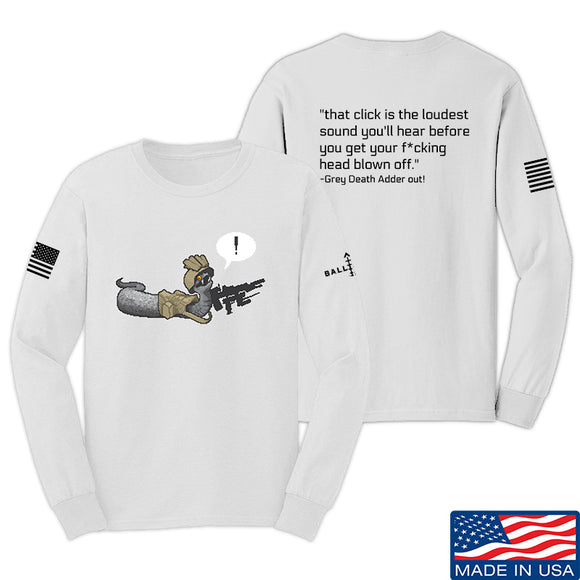 Kit Badger Grey Death Adder - The Loudest Sound Long Sleeve T-Shirt Long Sleeve Small / White by Ballistic Ink - Made in America USA