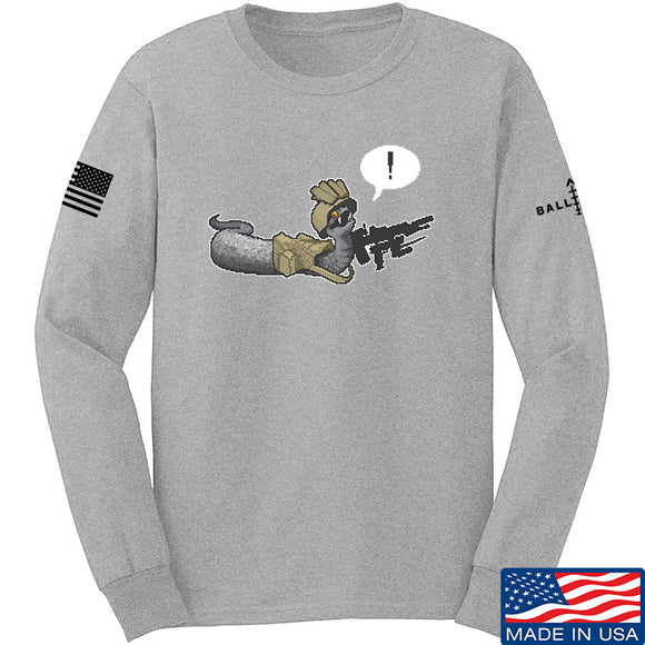 Kit Badger Grey Death Adder Long Sleeve T-Shirt Long Sleeve Small / Light Grey by Ballistic Ink - Made in America USA