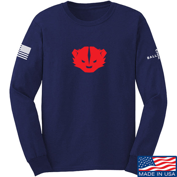Kit Badger Kit Badger Logo Long Sleeve T-Shirt Long Sleeve Small / Navy by Ballistic Ink - Made in America USA