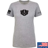 Kit Badger Ladies Kit Badger LogoT-Shirt T-Shirts SMALL / Light Grey by Ballistic Ink - Made in America USA