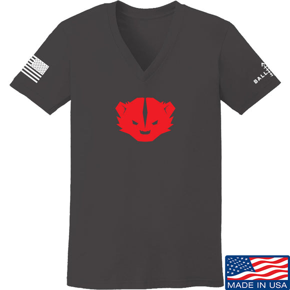 Kit Badger Ladies Kit Badger Logo V-Neck T-Shirts, V-Neck SMALL / Charcoal by Ballistic Ink - Made in America USA