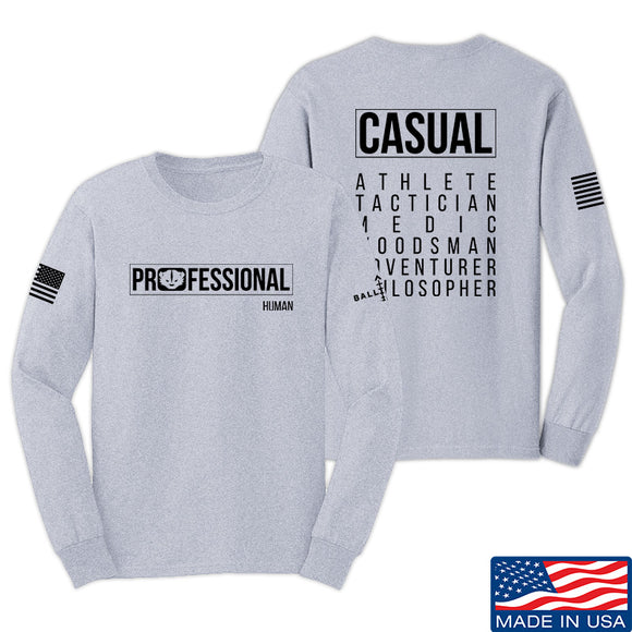 Kit Badger Professional Human v2.0 Long Sleeve T-Shirt Long Sleeve Small / Light Grey by Ballistic Ink - Made in America USA