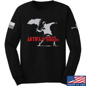 MAC Antifa Equals Domestic Terrorists Long Sleeve T-Shirt Long Sleeve Small / Black by Ballistic Ink - Made in America USA