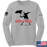 MAC Antifa Equals Domestic Terrorists Long Sleeve T-Shirt Long Sleeve Small / Light Grey by Ballistic Ink - Made in America USA