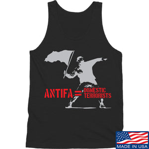 MAC Antifa Equals Domestic Terrorists Tank Tanks SMALL / White by Ballistic Ink - Made in America USA
