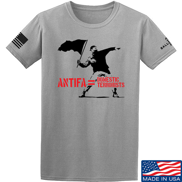 MAC Antifa Equals Domestic Terrorists T-Shirt T-Shirts Small / Light Gray by Ballistic Ink - Made in America USA
