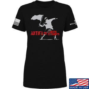 MAC Ladies Antifa Equals Domestic Terrorists T-Shirt T-Shirts SMALL / Navy by Ballistic Ink - Made in America USA