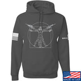 MAC Armed Vitruvian Man Hoodie Hoodies Small / Charcoal by Ballistic Ink - Made in America USA