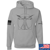 MAC Armed Vitruvian Man Hoodie Hoodies Small / Light Grey by Ballistic Ink - Made in America USA
