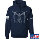 MAC Armed Vitruvian Man Hoodie Hoodies Small / Navy by Ballistic Ink - Made in America USA