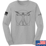 MAC Armed Vitruvian Man Long Sleeve T-Shirt Long Sleeve Small / Light Grey by Ballistic Ink - Made in America USA