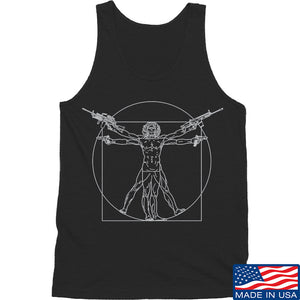 MAC Armed Vitruvian Man Tank Tanks SMALL / Navy by Ballistic Ink - Made in America USA