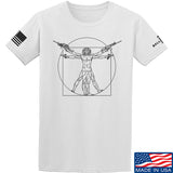 MAC Armed Vitruvian Man T-Shirt T-Shirts Small / White by Ballistic Ink - Made in America USA