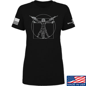 MAC Ladies Armed Vitruvian Man T-Shirt T-Shirts SMALL / Black by Ballistic Ink - Made in America USA