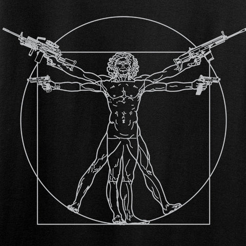 MAC Ladies Armed Vitruvian Man T-Shirt T-Shirts [variant_title] by Ballistic Ink - Made in America USA