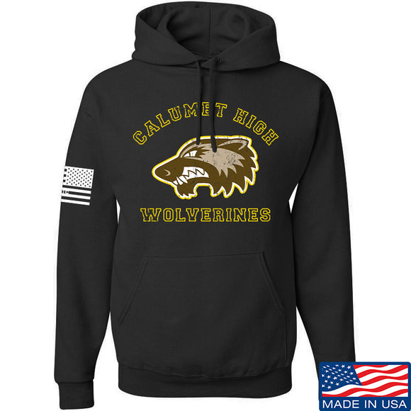 MAC Calumet High Wolverines Hoodie Hoodies Small / Black by Ballistic Ink - Made in America USA