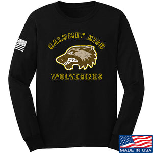 MAC Calumet High Wolverines Long Sleeve T-Shirt Long Sleeve Small / Black by Ballistic Ink - Made in America USA