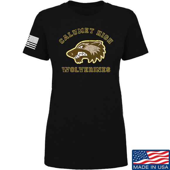 MAC Ladies Calumet High Wolverines T-Shirt T-Shirts SMALL / Black by Ballistic Ink - Made in America USA