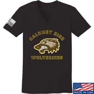 MAC Ladies Calumet High Wolverines V-Neck T-Shirts, V-Neck SMALL / Black by Ballistic Ink - Made in America USA