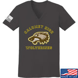 MAC Ladies Calumet High Wolverines V-Neck T-Shirts, V-Neck SMALL / Charcoal by Ballistic Ink - Made in America USA