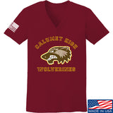 MAC Ladies Calumet High Wolverines V-Neck T-Shirts, V-Neck SMALL / Cranberry by Ballistic Ink - Made in America USA