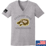 MAC Ladies Calumet High Wolverines V-Neck T-Shirts, V-Neck SMALL / Light Grey by Ballistic Ink - Made in America USA
