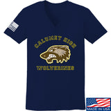 MAC Ladies Calumet High Wolverines V-Neck T-Shirts, V-Neck SMALL / Navy by Ballistic Ink - Made in America USA